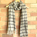 Black Stripe Handloomed Linen Scarf