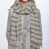 Scarf Black Stripe Handloomed/Rustic Linen