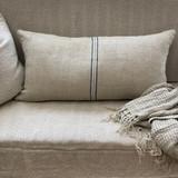 Cushion Cover Long Blue Stripe Handloomed/Rustic Linen 40 x 80 cm