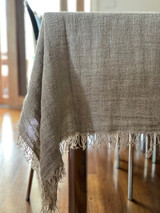 Table Cloth with Fringe Natural Handloomed/Rustic Linen