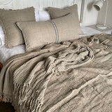 Natural Handloomed Linen Bedcover with Fringe on 2 Sides