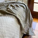 Natural Handloomed Linen Bedcover with 4 Sides Fringe