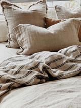 Natural/Black Stripe Reversible Handloomed Quilt Cover