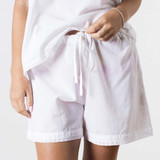 Lulu White Cotton Short with Lace