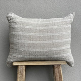 Cushion Cover - White Stripe Handloomed Linen with 2 Button Closure 50 x 60 cm