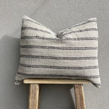 Cushion Cover - Black Stripes Handloomed Linen with 2 Button Closure  -  50 x 60 cm