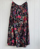 Black Bird Print Skirt with Lining
