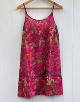 Bird Print Hot Pink Slip Dress