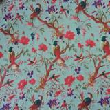 Bird Print Aqua Skirt with Lining
