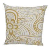 Raro Canvas Cushion Gold and White (Filled)