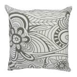 Raro Canvas Cushion Grey and White (Filled)