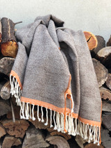 Herringbone Rust Border Wool Throw