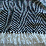 Herringbone Throw Navy Cream