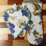 Floral Blue Oven Mittens & Pot Holder Set of 2