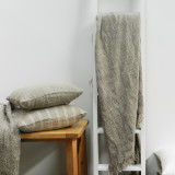 Handloomed/Rustic Linen Throw Natural Fringed