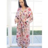 Bird Print Peach Kimono