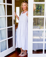 Monica Smocked with White Rose Buds Nightdress