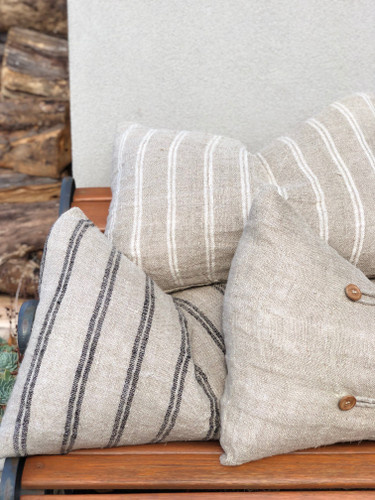 Handloomed/Rustic Linen Cushion Cover with Black Stripes 40 X 60 cm