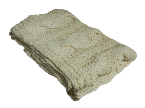 Chunky Cable Knit Throw Natural 100% Wool