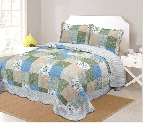 Patchwork Quilt Bedspread Set Green, Reverse Blue Stripe