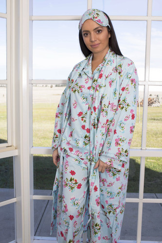 Ariana Blue Floral Ladies Long PJ Pack of 3 Sets