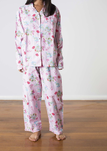 Ariana Pink Floral Ladies Long PJ PACK OF 3: S, M, L