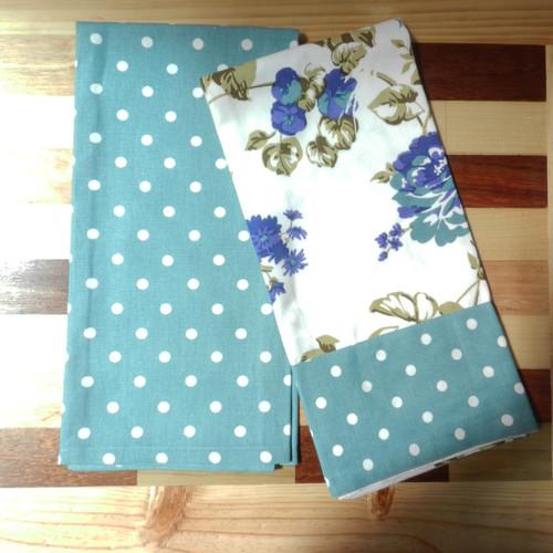 Floral Blue Tea Towel Set of 2