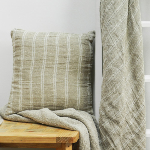 Handloomed/Rustic Linen Throw with White Stripes