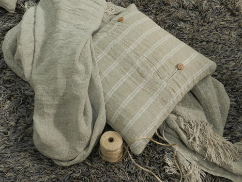 Handloom/Rustic Linen Cushion Cover with White Stripes 45X45cm