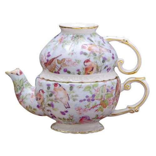 Blue Bird Chintz Porcelain Tea For One Set