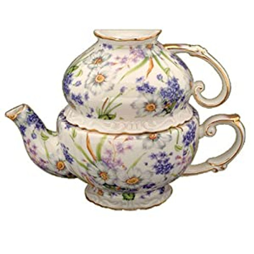Purple Violets Porcelain Tea For One Set