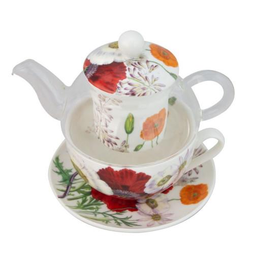 Poppy Fields 5 Piece Tea For One Set