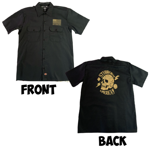 Get your very own Stubborn American button up now!