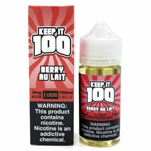 Berry Au Lait (Strawberry Milk ) (100ml) Keep it 100 New Package and Bottle Thumbnail Sized