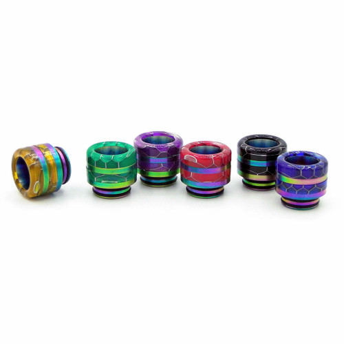 Snake Skin Double Ring (Metal Base, Removable Rings ) 810 Drip Tips All Colors
