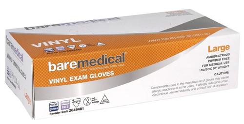 Vinyl Gloves Powder Free Bare Medical - 100 Box