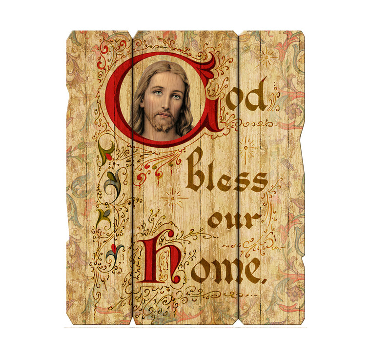 """""""God Bless Our Home"""" 7x9 Wood Plaque"""