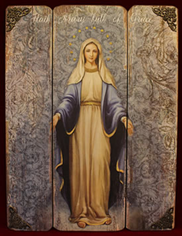 """Our Lady of Grace Wood Plaque 17"""""""