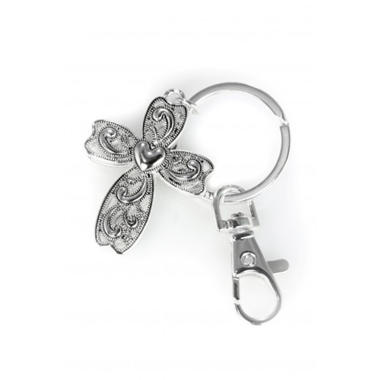 Silver-Finish Cross with Center Heart Keychain