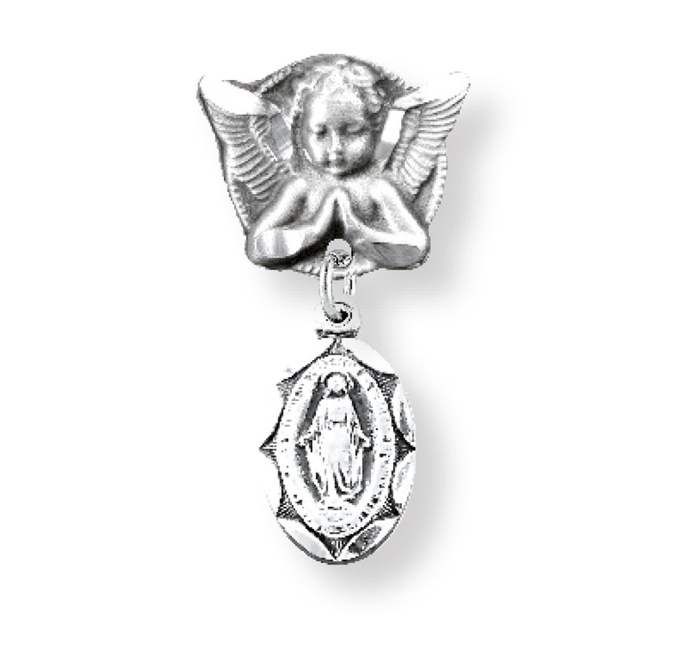 Sterling Silver Oval Scallop Edged Miraculous Baby Medal on an Angel Pin