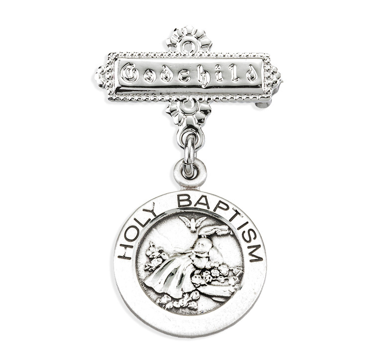 Sterling Silver Round Holy Baptism Medal on a Godchild Pin