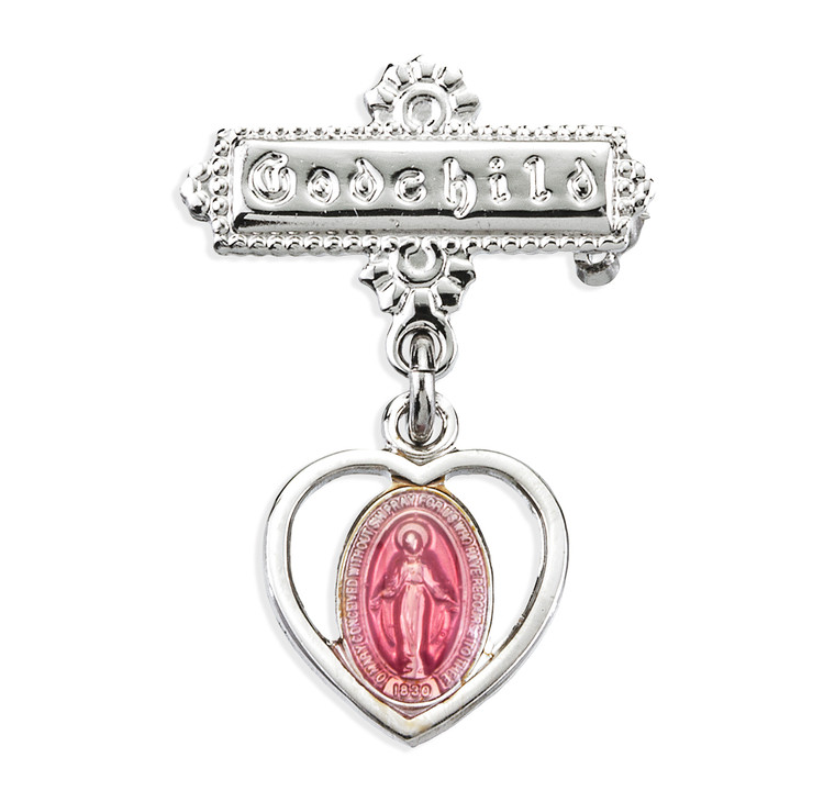 Sterling Silver Pierced Heart Baby Miraculous Medal Pink on a Godchild Pin