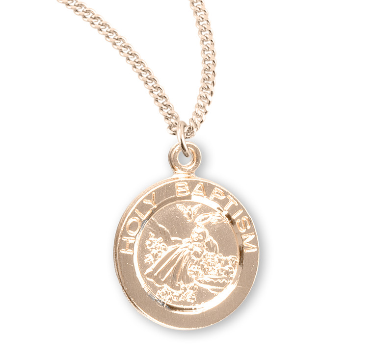 Holy Baptism Round Gold Over Sterling Silver Medal