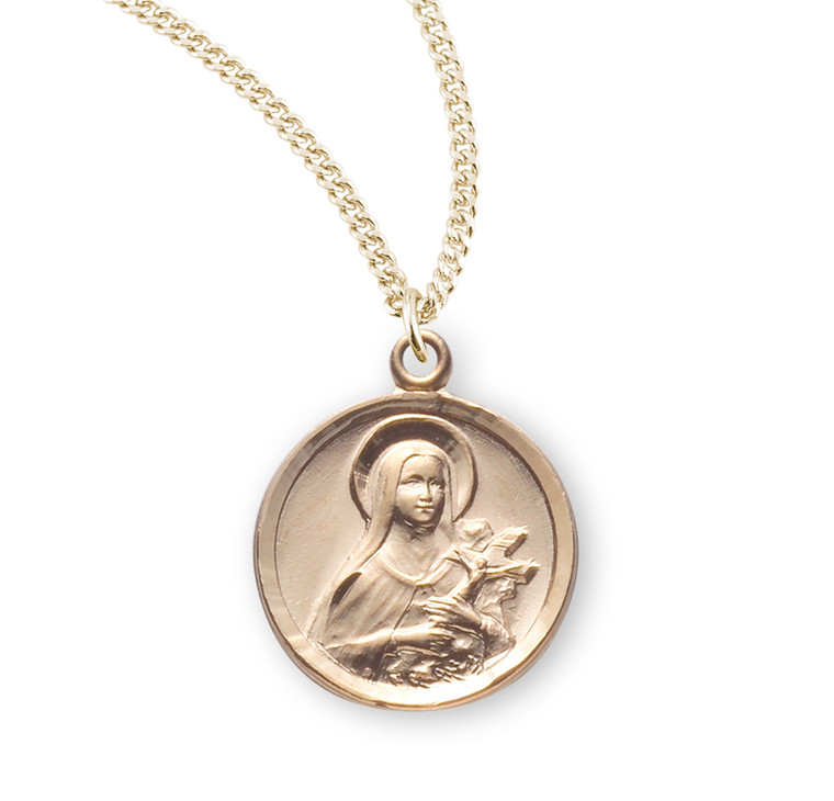 Gold Over Sterling Silver Saint Therese The Little Flower Medal