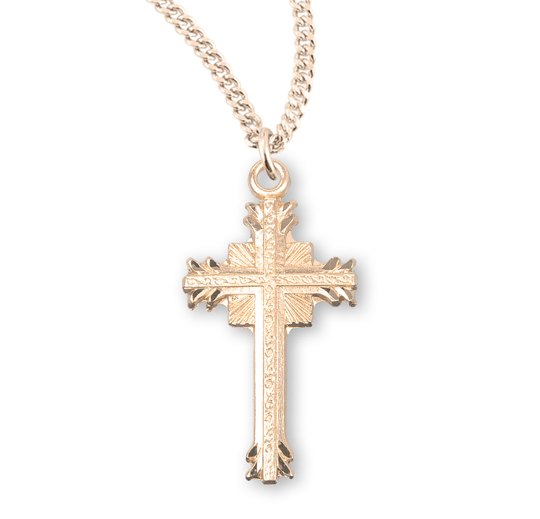 Gold Over Sterling Silver Flare Tipped Cross with a Scrolled Center
