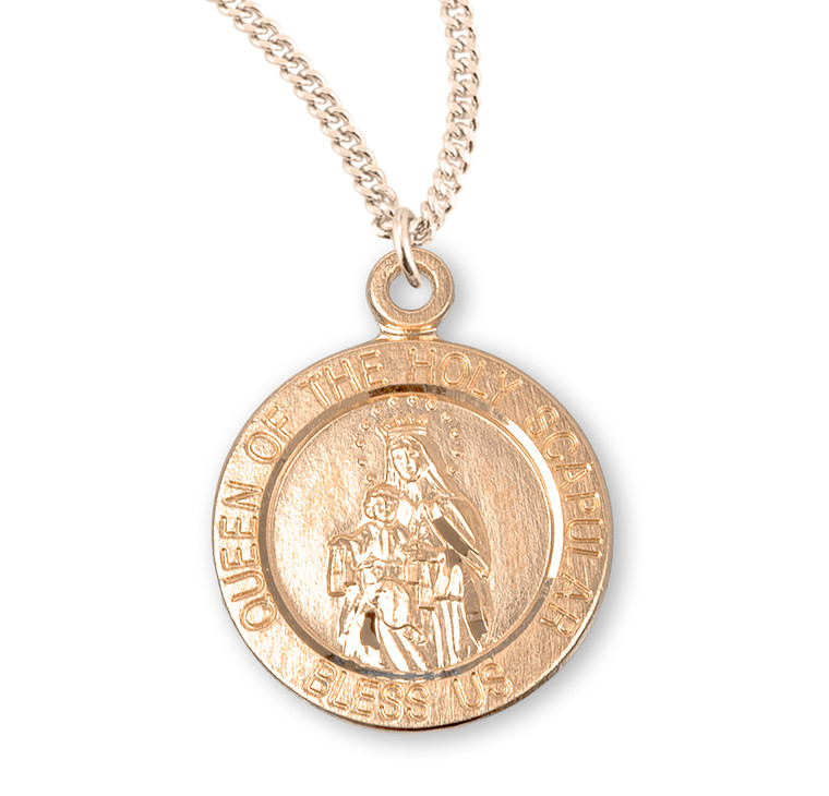Holy Scapular Round Double Sided Gold Over Sterling Silver Medal