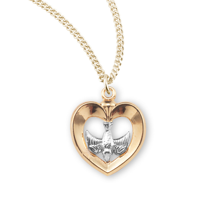 Holy Spirit Gold Over Sterling Silver Two-Tone Medal