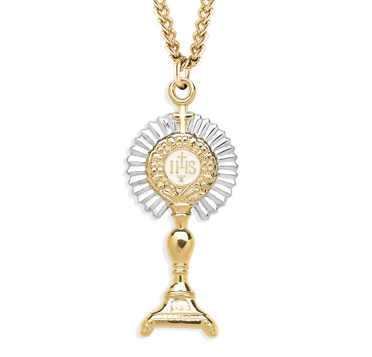 Gold Over Sterling Silver Two-Tone Monstrance Pendant