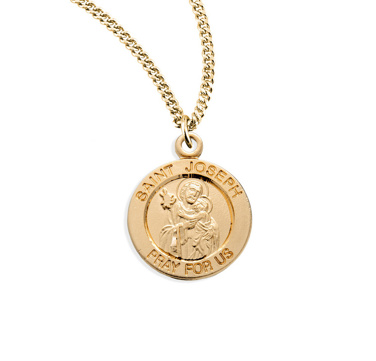 Patron Saint Joseph Round Gold Over Sterling Silver Medal