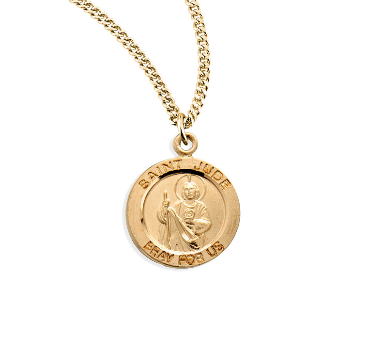 Patron Saint Jude Round Gold Over Sterling Silver Medal
